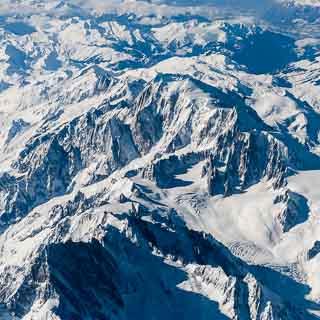 Luftaufnahme Mont Blanc im Winter