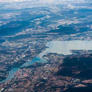 Luftbild von Sesto Calende am südlichen Ende des Lago Maggiore
