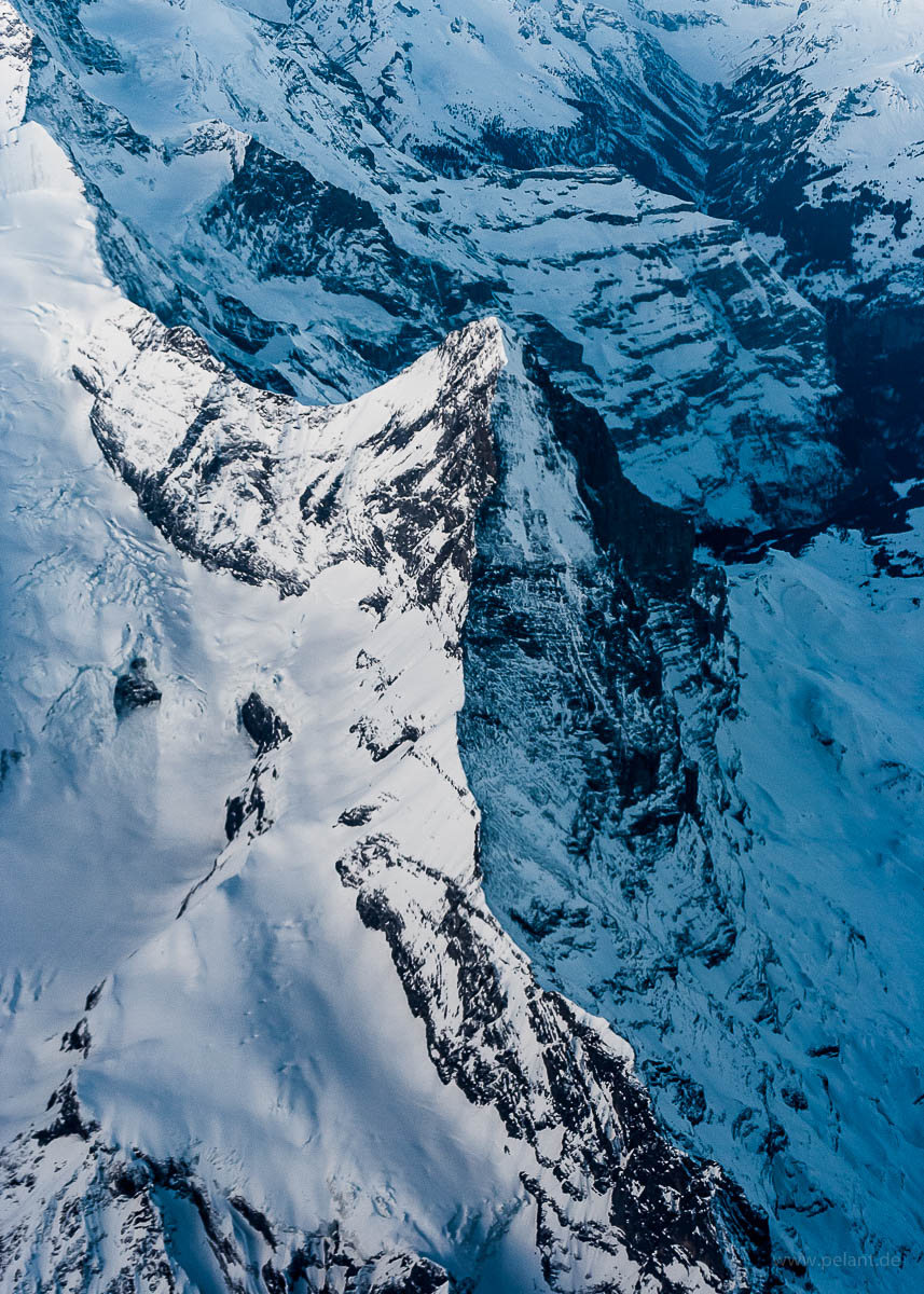 Aerial view of Eiger mountain of the Bernese Alps