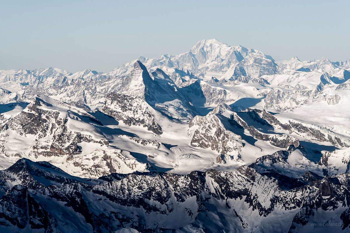 Aerial view of Matterhorn and Mont Blanc mountains