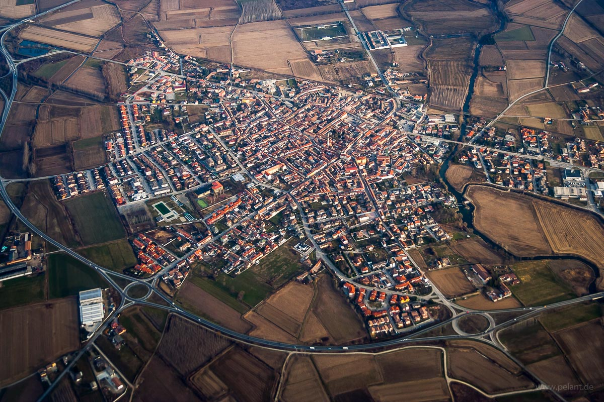 Aerial view of Tromello, Italy