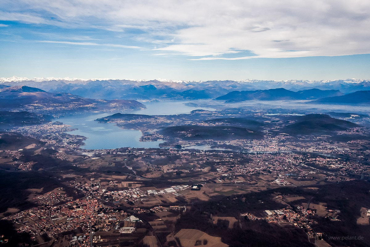 Aerial view of Lago Maggiore from South