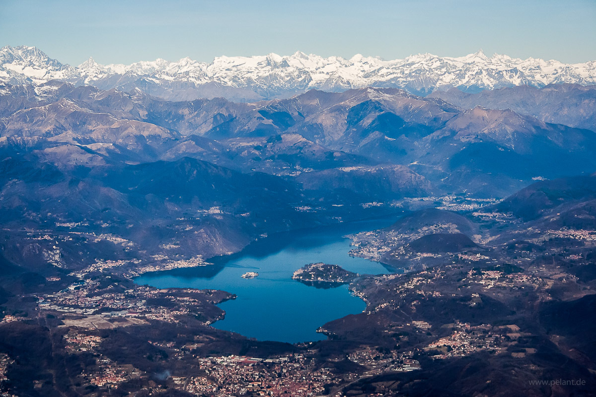 Aerial view of Lake Orta with Alps mountains from South