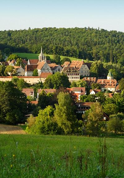 view of Bebenhausen monastery in Schoenbuch forest