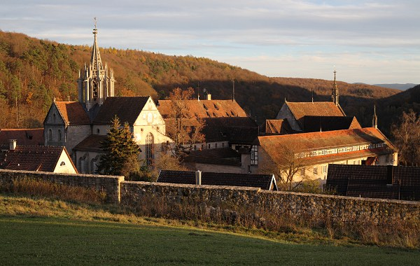 view of Bebenhausen monastery in evening light