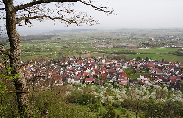 view of Kayh from Grafenberg in spring