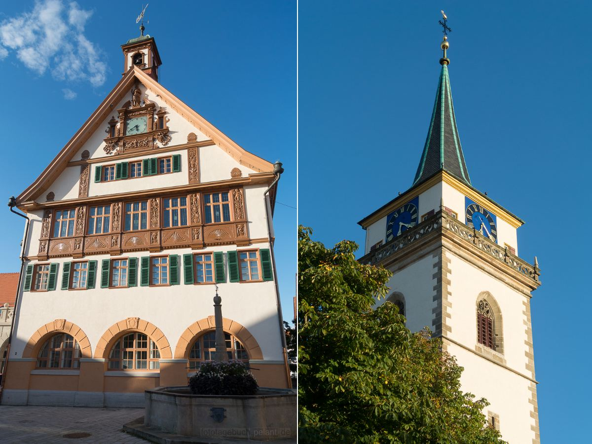 Metzinger Rathaus und Kirchturm