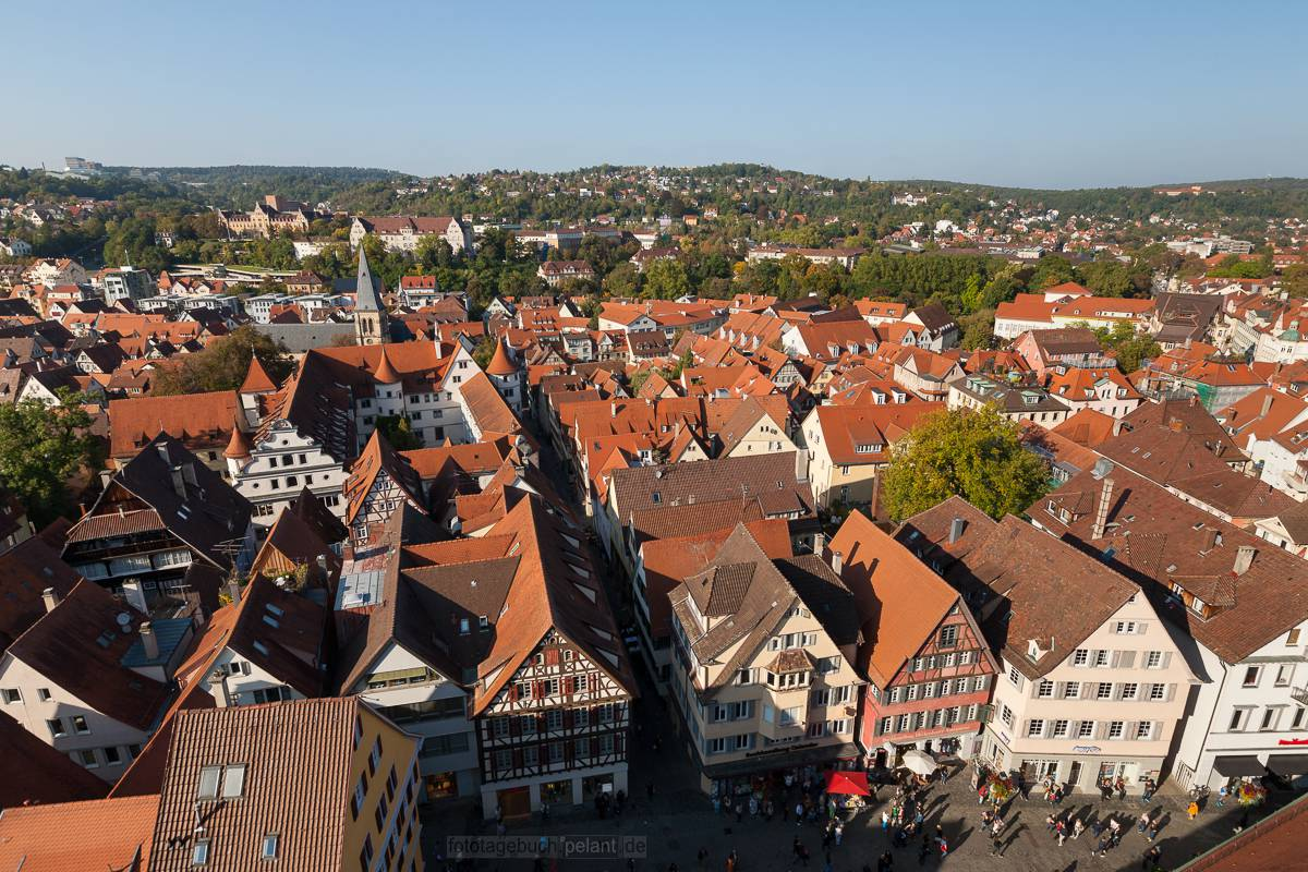view from the church tower of Tübingen
