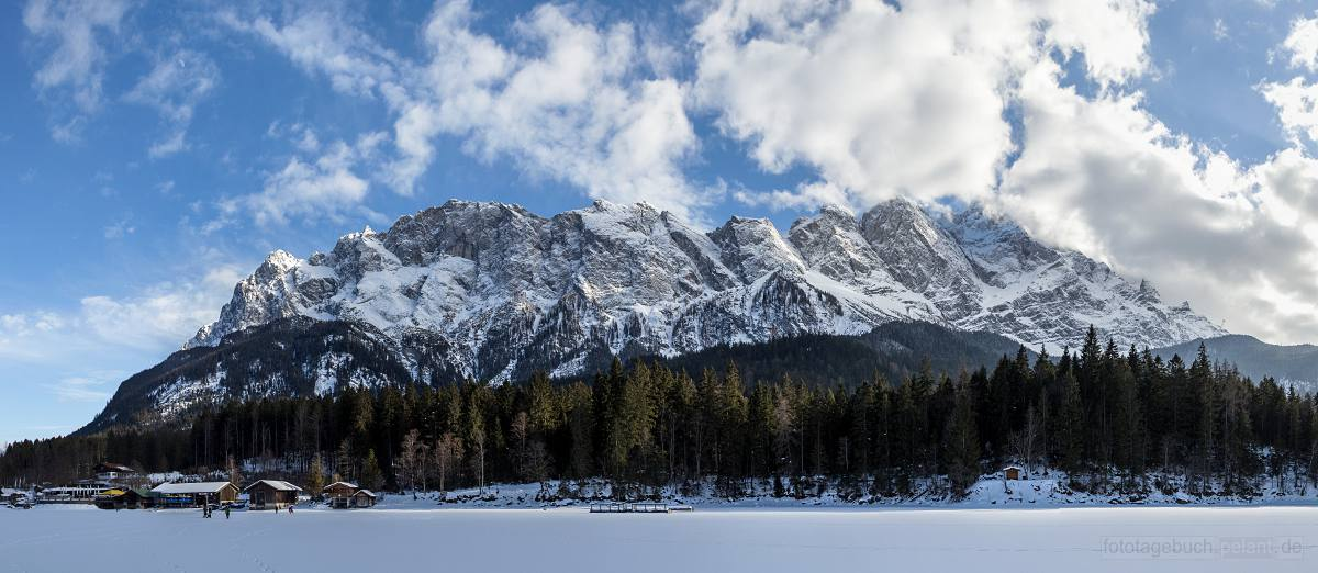 view of the Zugspitze from the frozen Eibsee in Winter