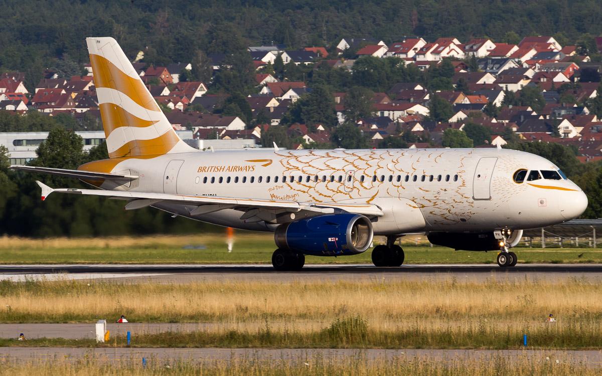 G-EUPH | British Airways | Airbus A319-131 | Olympic Dove Livery | Stuttgart Airport mit Neuhausen auf den Fildern im Hintergrund