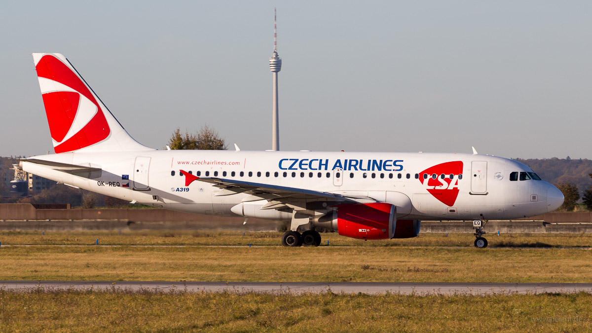 Czech Airlines with Stuttgart television tower in the background - OK-REQ | Czech Airlines | Airbus A319-112