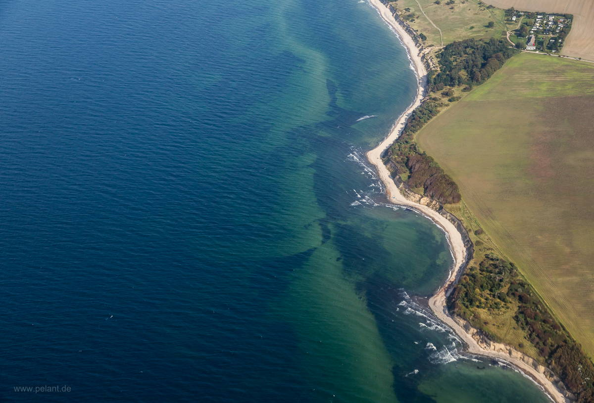 aerial view of the coastline of Rügen near Dranske