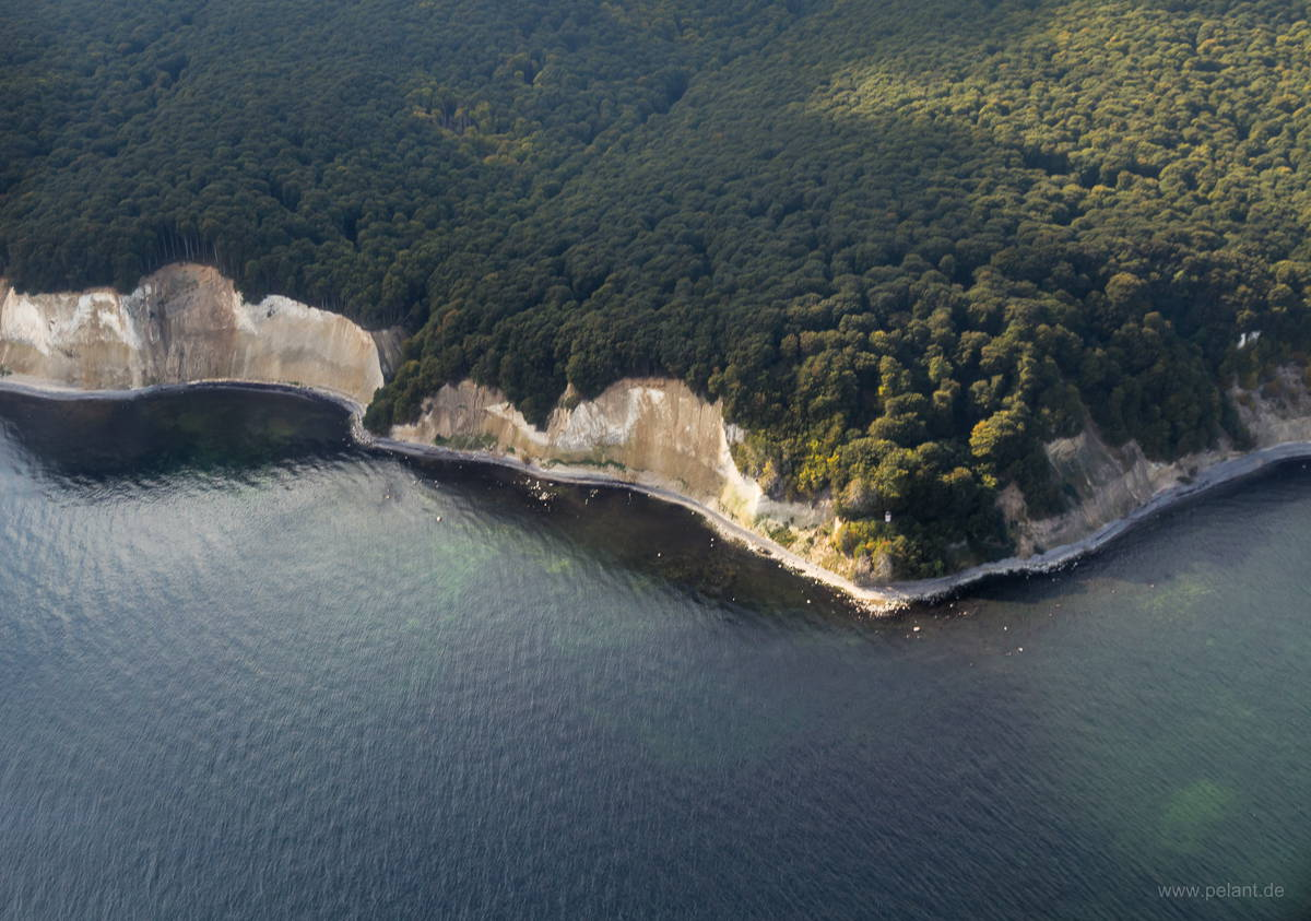 aerial view of Rügen's chalk cliffs near Sassnitz