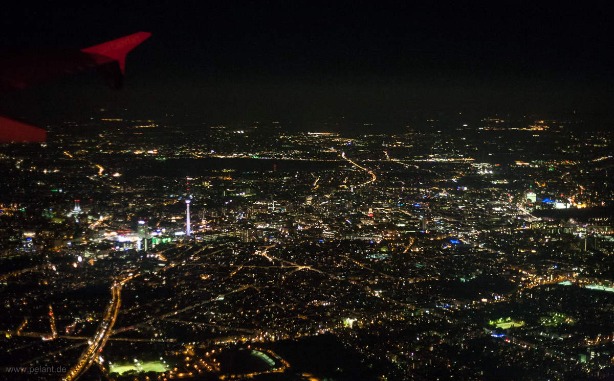Aerial view of Berlin at night