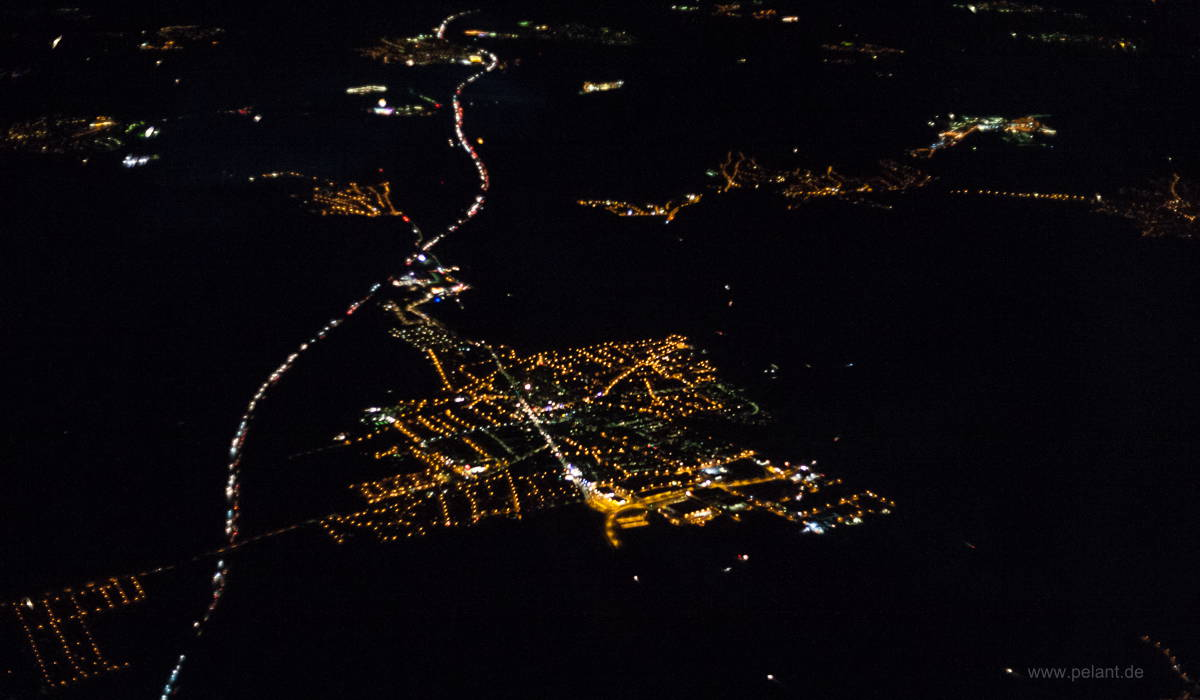Aerial view of Rutesheim and A8 at night