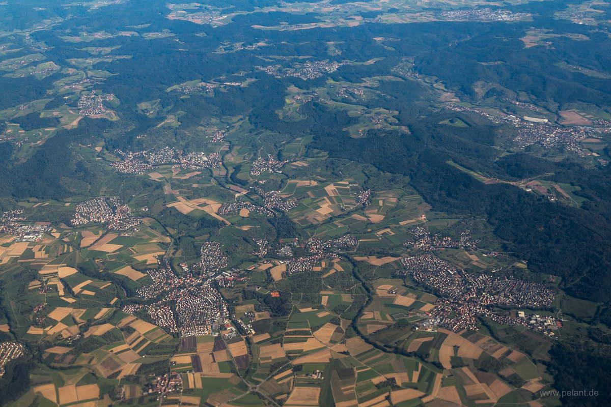 Aerial view of Weissach and Allmersbach im Tal, Welzheim and Welzheimer Wald