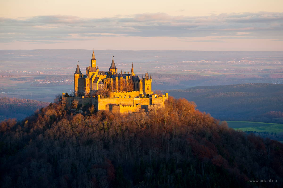 Hohenzollern castle in the morning light