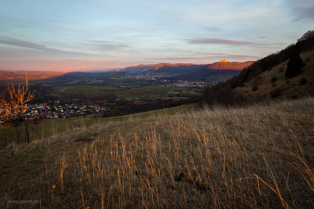 sunset on the Jusi mountain, view of the Schwäbische Alb
