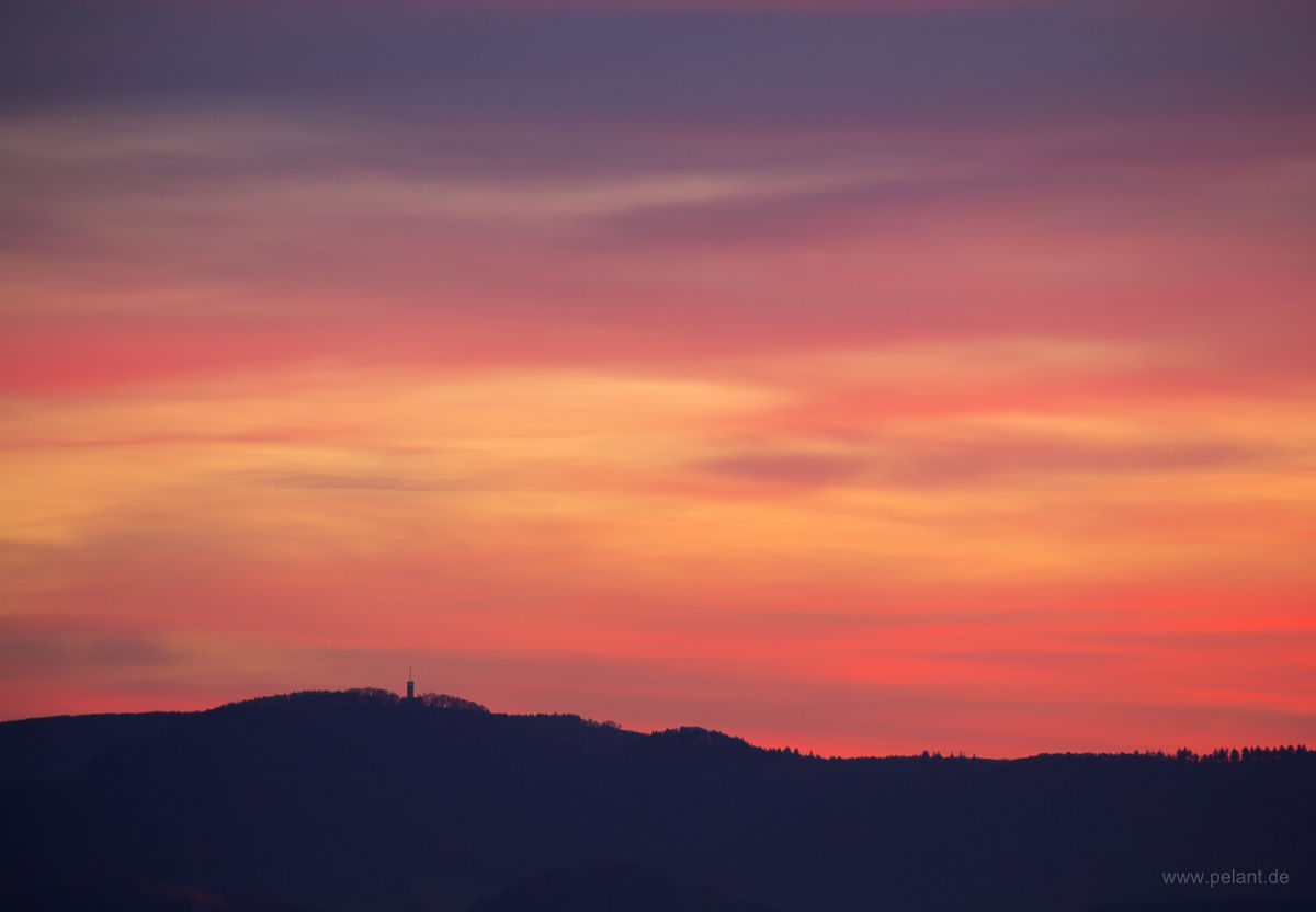 afterglow and the silhouette of the Schwäbische Alb