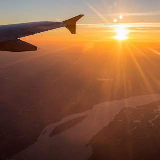 sunrise over the Elbe river, aerial