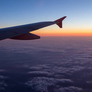 twilight above the clouds (view from aeroplane)