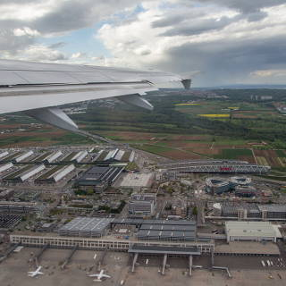 Aerial view of Stuttgart airport and trade fair centre