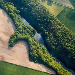 Luftaufnahme von Feldern, Wald und Gewässer