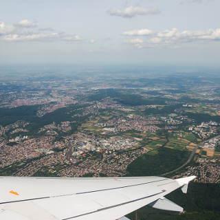 view of Stuttgart with Vaihingen above the wing