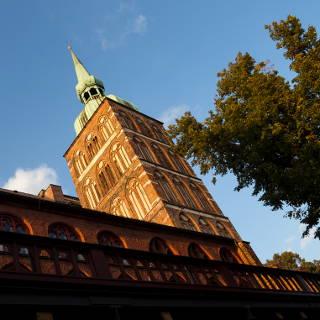 Kirche St. Nikolai in Stralsund, Kirchturm im Abendlicht