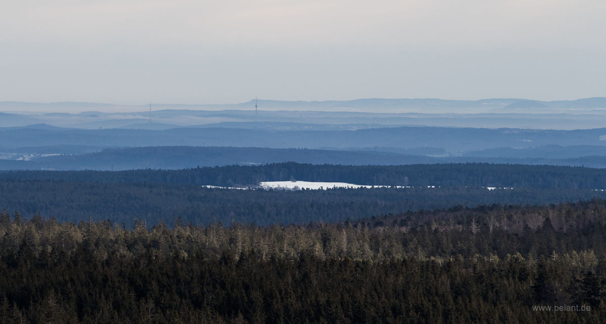 View from Hohloh tower over the Black Forest to Stuttgart´s TV tower and the Schwäbische Alb
