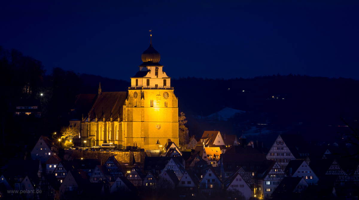 Herrenberg´s church at night