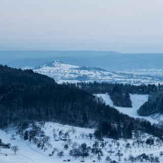 Blick auf die Wurmlinger Kapelle im Winter