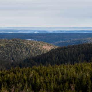 Blick vom Hohlohturm über den Schwarzwald zur Schwäbischen Alb am Horizont