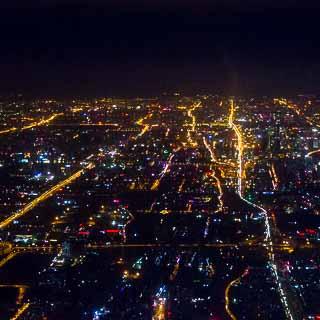 Luftaufnahme von Peking bei Nacht
