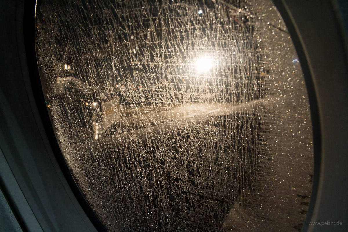 frozen airplane window