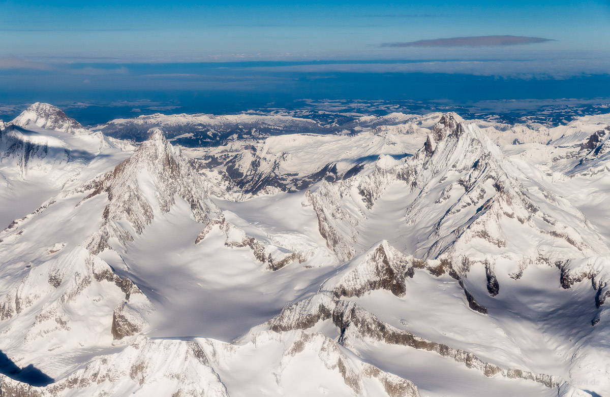 Aerial view of the Bernese Alps with Finsteraarhorn and Lauteraarhorn in winter