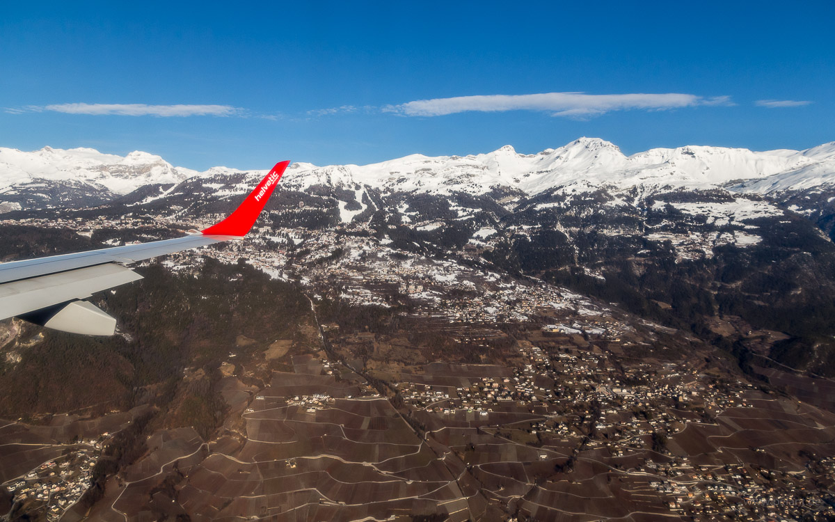 View of Venthone, Mollens, Randogne between Siders and Crans-Montana during approach to Sion Airport (SIR)