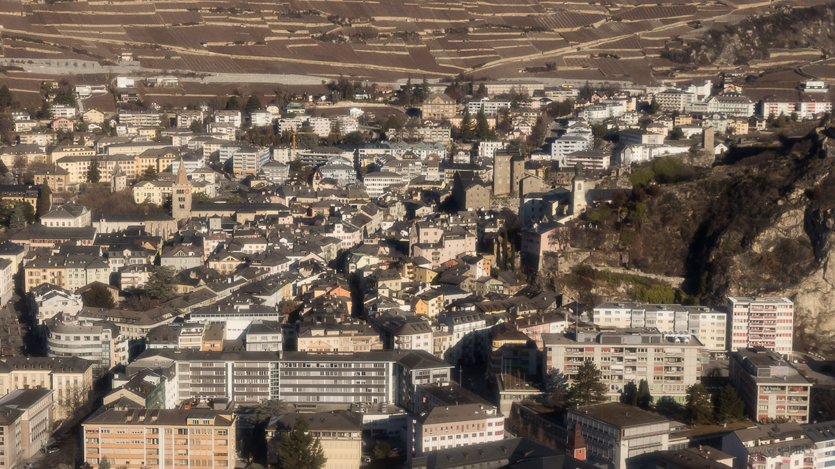 aerial view of the old town of Sion (Switzerland)