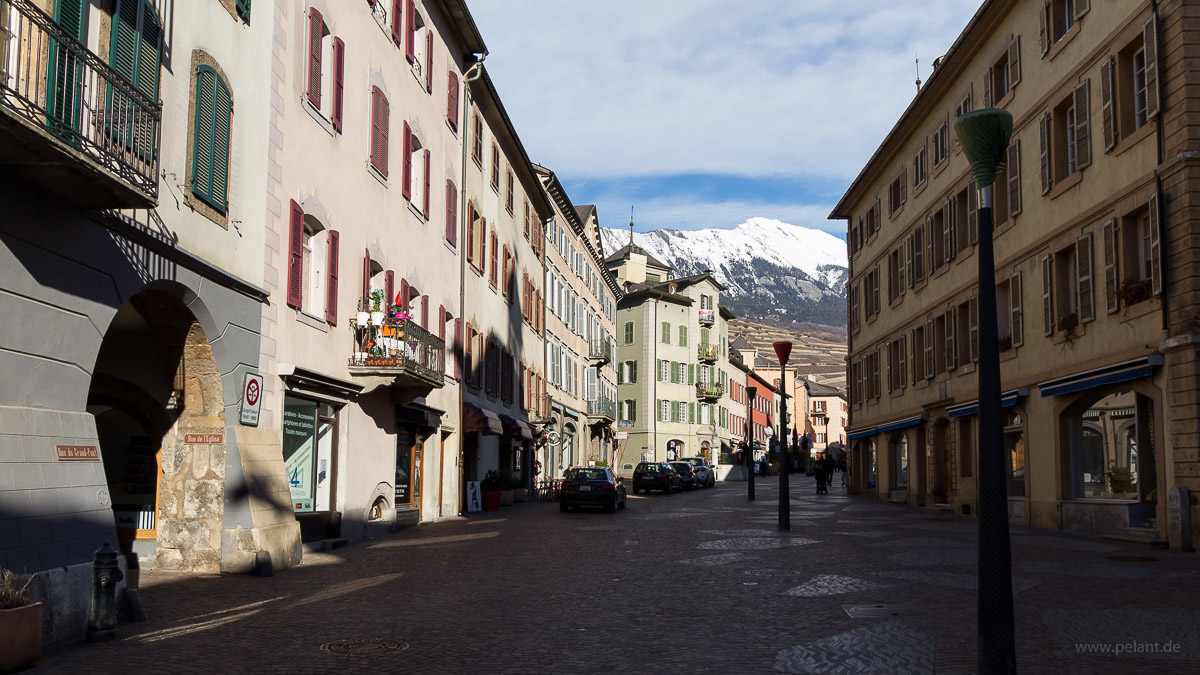 Rue du Grand-Pont in the old town of Sion, Switzerland