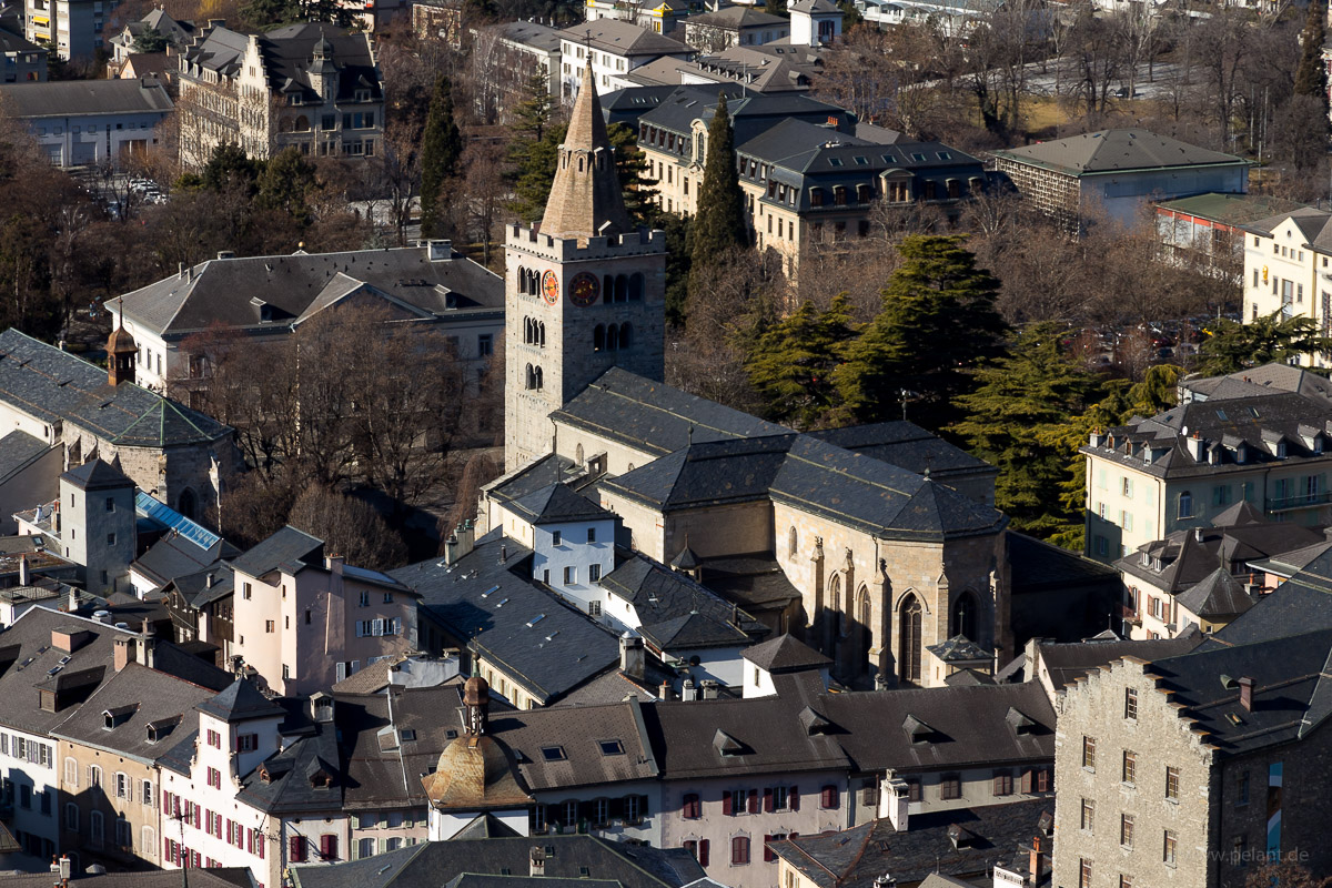View from the Tourbillon of the Cathédrale Notre-Dame de Sion and the old town of Sion, Switzerland