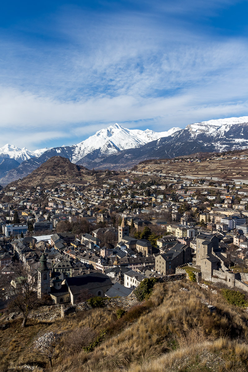 view from the Tourbillon of the old town of Sion, Switzerland