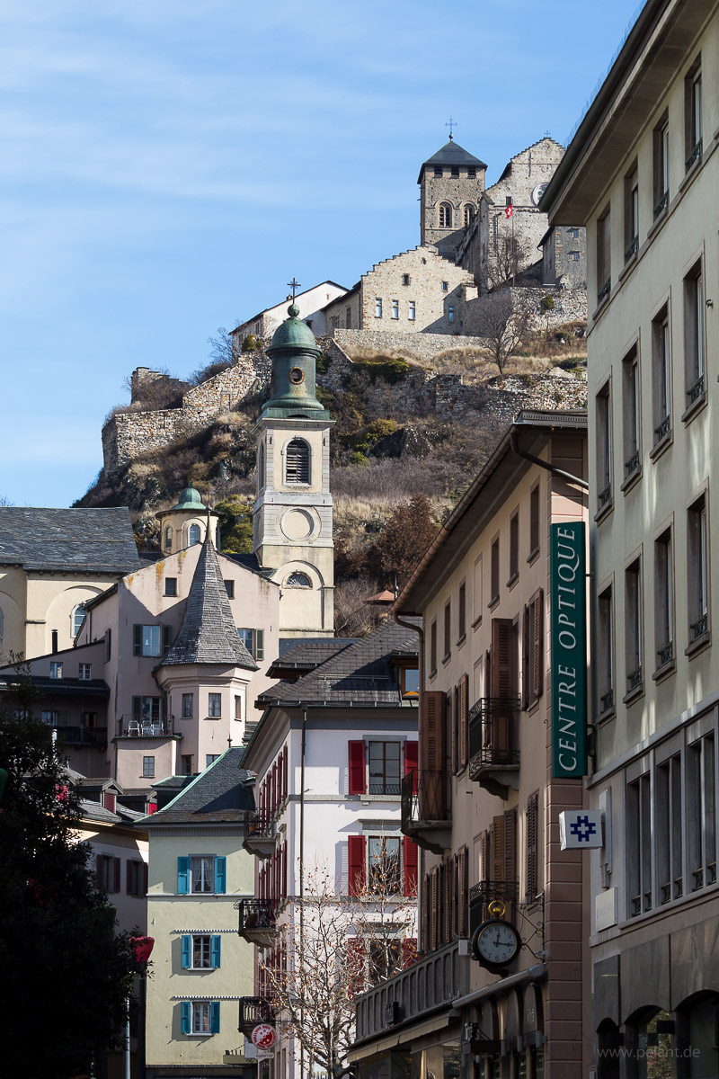 old town of Sion, Switzerland, with Basilique de Valère