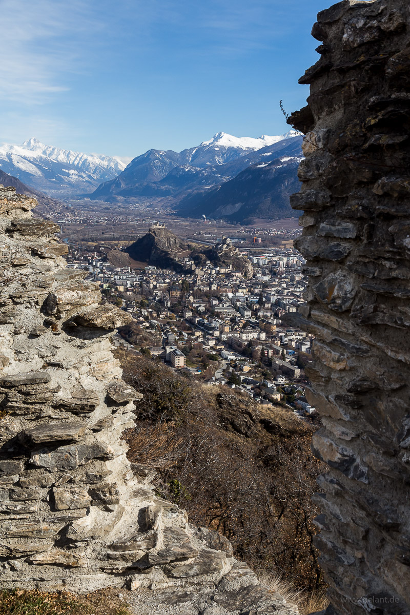 view of Sion and the Rhone valley from the ruins on the Mont d'Orge, Valais, Switzerland