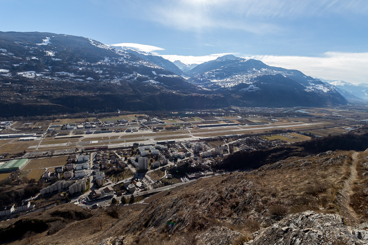 view from Mont d'Orge of the Sion Airport