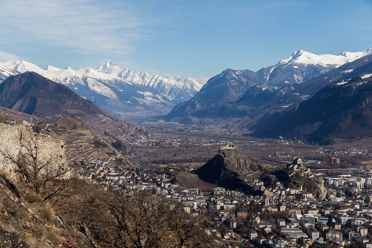 View from the Mont d'Orge of Sion and the Rhone Valley, Valais, Switzerland