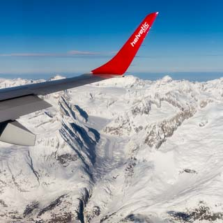 Aerial view of the Oberaletschgletscher (Oberaletsch Glacier) in the Bernese Alps in Winter