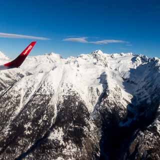 Aerial view of the Bernese Alps with Bietschhorn while apporaching Sion Airport