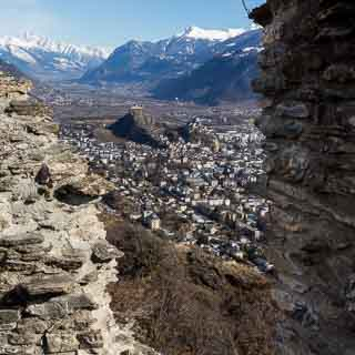 view of Sion and the Rhone valley from the ruins on the Mont d'Orge