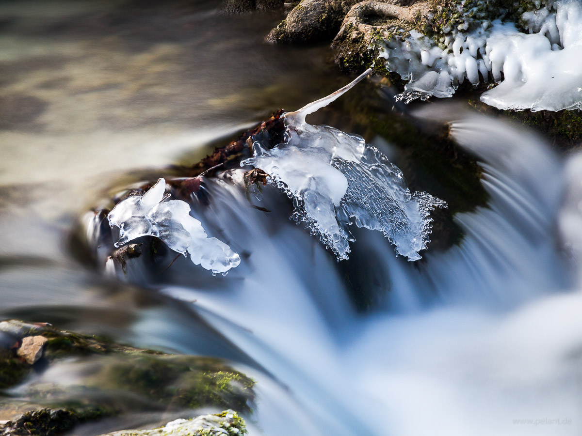 ice near shoots in the Brühlbach stream (long exposure)