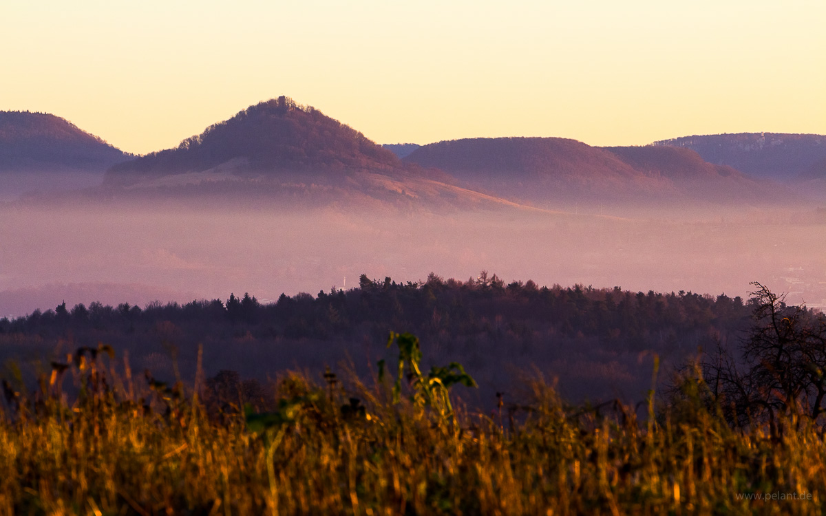 view of Achalm mountain at the edge of the Schwäbische Alb in the evening light
